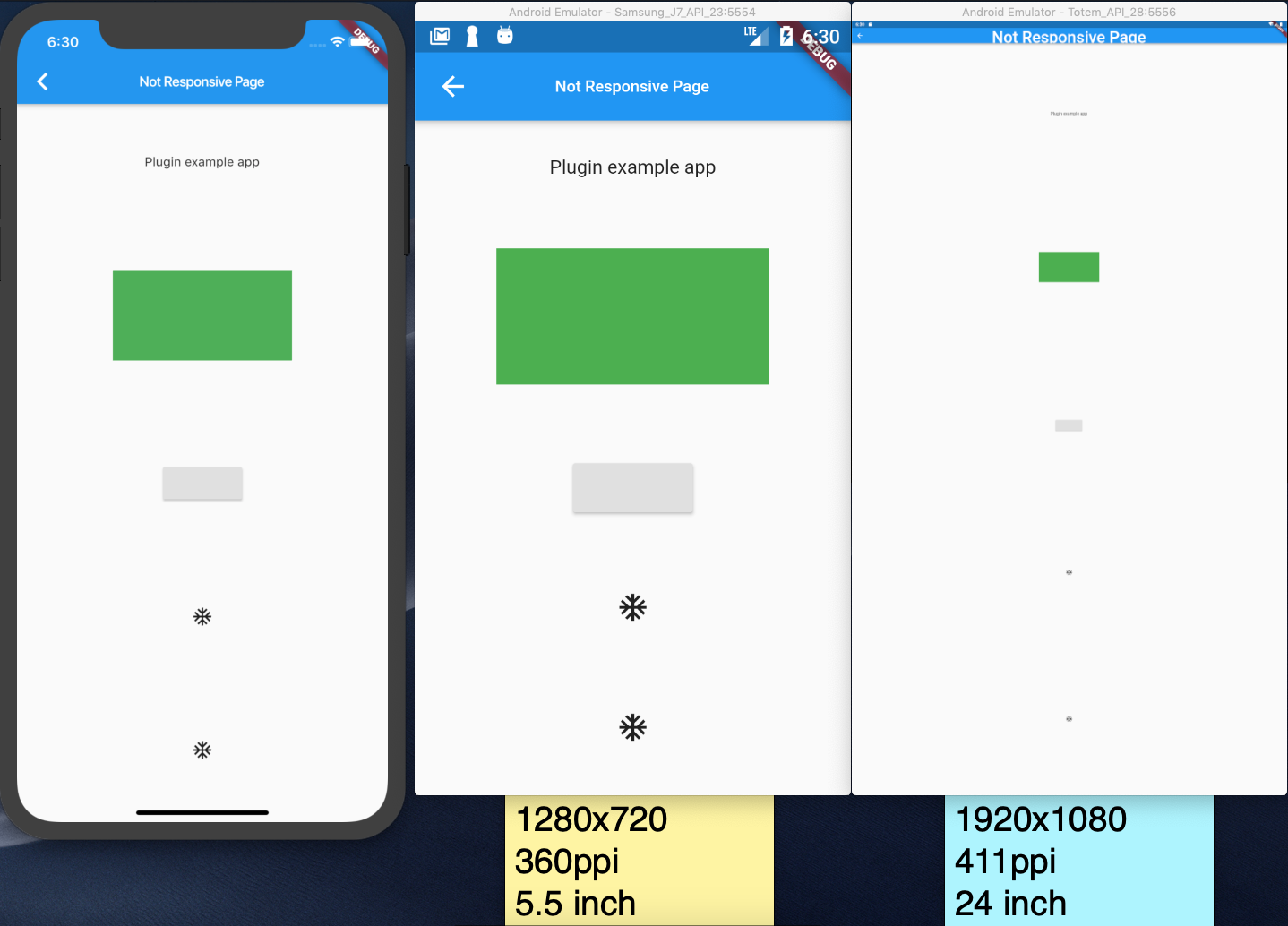 Scale whole app or widget contents to a screen size in Flutter
